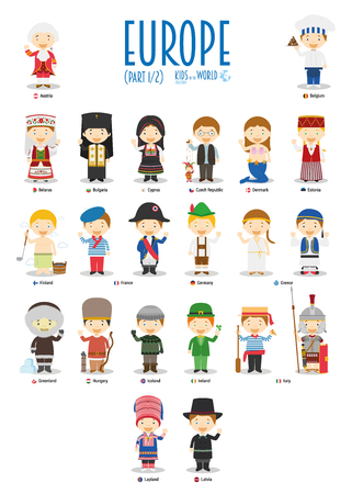 Kids and nationalities of the world vector: Europe Set 1 of 2. Set of 22 characters dressed in different national costumes. 일러스트