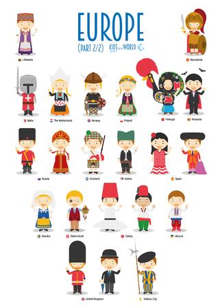 Niños y nacionalidades del vector mundial: Europa Conjunto 2 de 2. Conjunto de 22 personajes vestidos con diferentes trajes nacionales.
