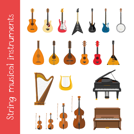 Vector illustration set of string musical instruments in cartoon style isolated on white background