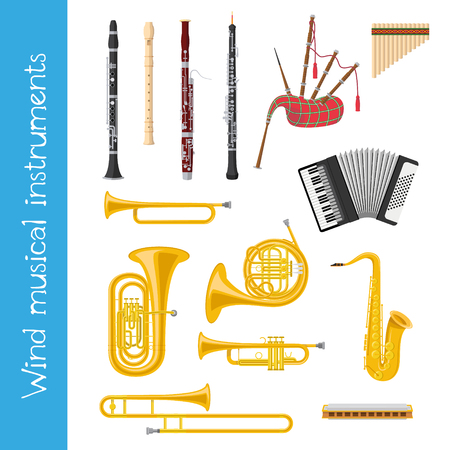 Vector illustration set of wind musical instruments in cartoon style isolated on white background