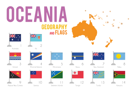 Set of 14 flags of Oceania isolated on white background and map of Oceania with countries situated on it. Illustration