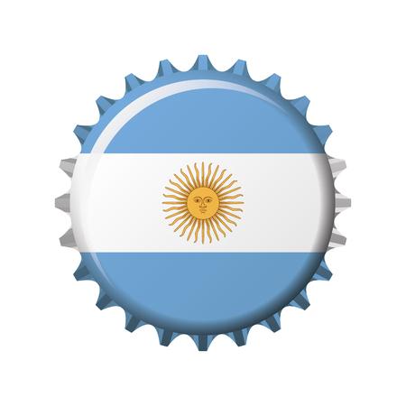 National flag of Argentina on a bottle cap. Vector Illustration