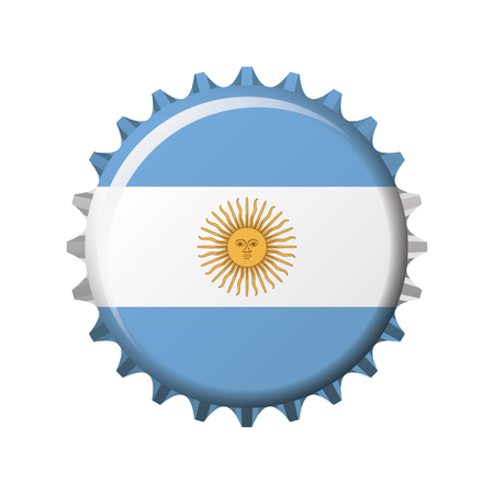 National flag of Argentina on a bottle cap. Vector Illustration