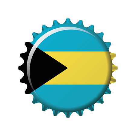 National flag of Bahamas on a bottle cap. Vector Illustration Ilustrace