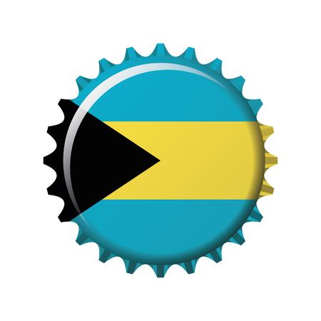 National flag of Bahamas on a bottle cap. Vector Illustration 일러스트