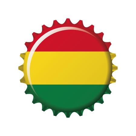National flag of Bolivia on a bottle cap. Vector Illustration
