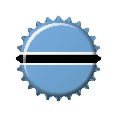 National flag of Botswana on a bottle cap. Vector Illustration