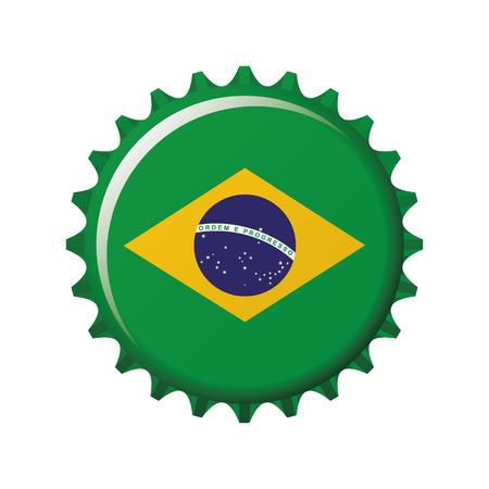 National flag of Brazil on a bottle cap. Vector Illustration