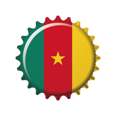 National flag of Cameroon on a bottle cap. Vector Illustration