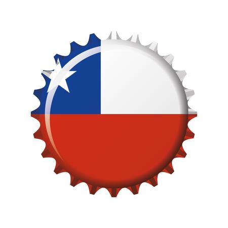 National flag of Chile on a bottle cap. Vector Illustration