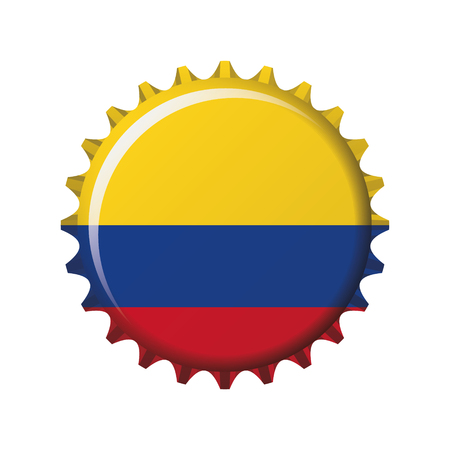 National flag of Colombia on a bottle cap. Vector Illustration