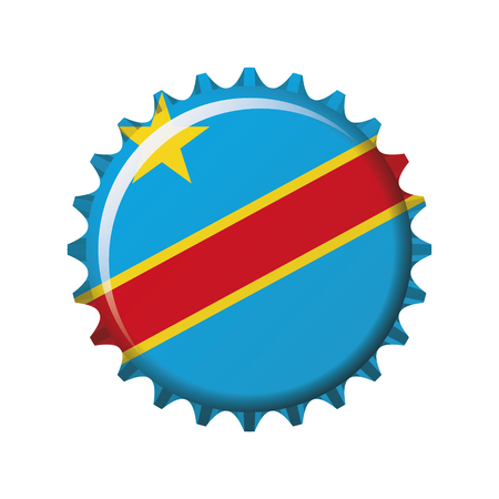 National flag of Democratic Republic of Congo on a bottle cap. Vector Illustration Standard-Bild - 103180147