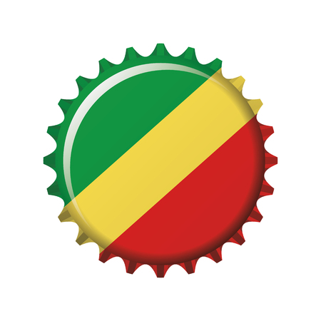 National flag of Republic of Congo on a bottle cap. Vector Illustration Vectores