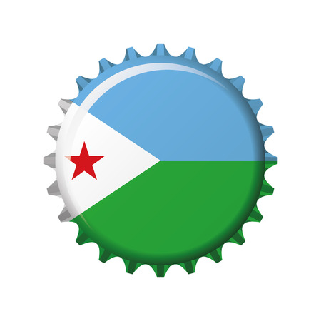 National flag of Djibouti on a bottle cap. Vector Illustration