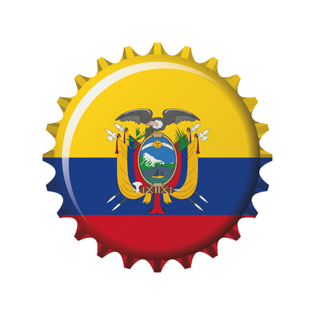National flag of Ecuador on a bottle cap. Vector Illustration