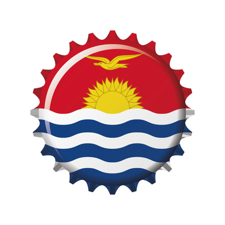 National flag of Kiribati on a bottle cap. Vector Illustration