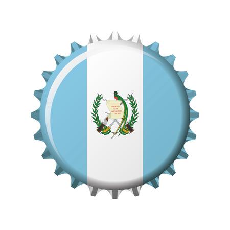 National flag of Guatemala on a bottle cap. Vector Illustration