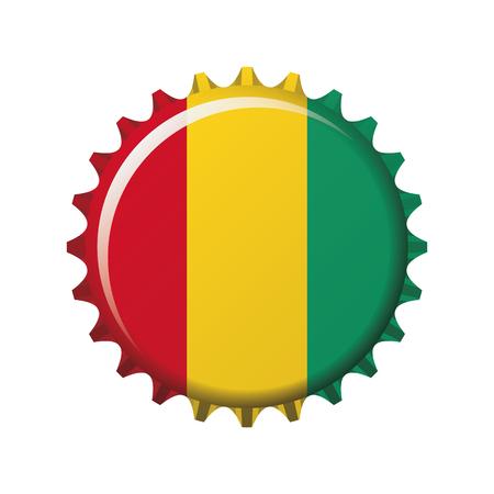 National flag of Guinea on a bottle cap. Vector Illustration