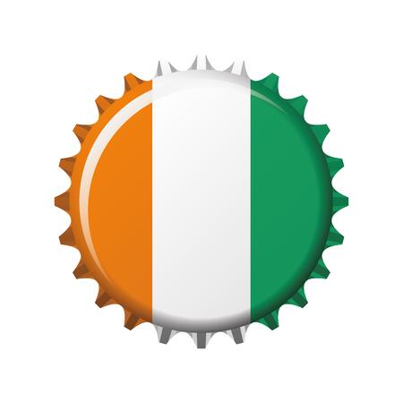 National flag of Ivory Coast on a bottle cap. Vector Illustration