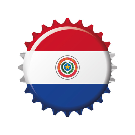 National flag of Paraguay on a bottle cap. Vector Illustration