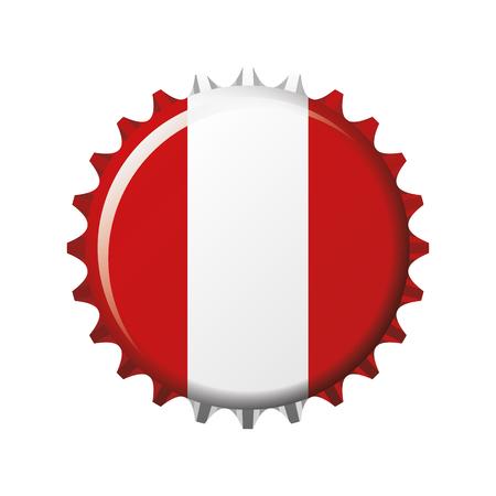 National flag of Peru on a bottle cap. Vector Illustration Vettoriali