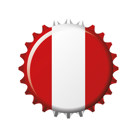 National flag of Peru on a bottle cap. Vector Illustration Ilustração