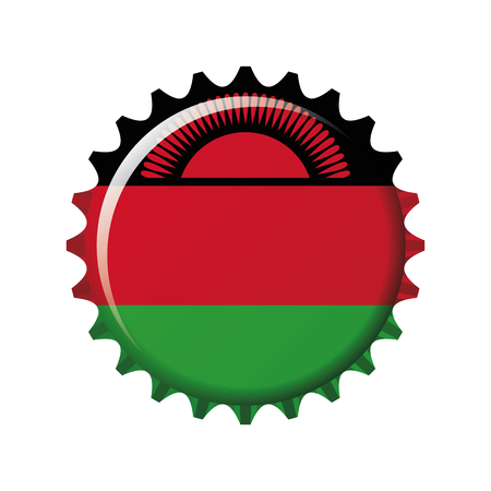 National flag of Malawi on a bottle cap. Vector Illustration Vectores