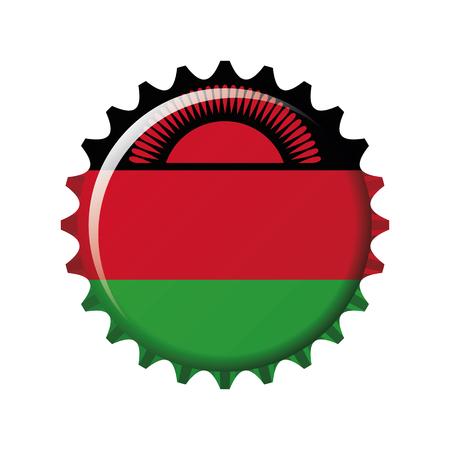 National flag of Malawi on a bottle cap. Vector Illustration Illustration