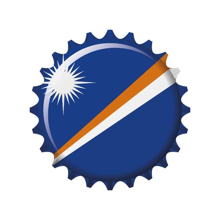 National flag of Marshall Islands on a bottle cap. Vector Illustration