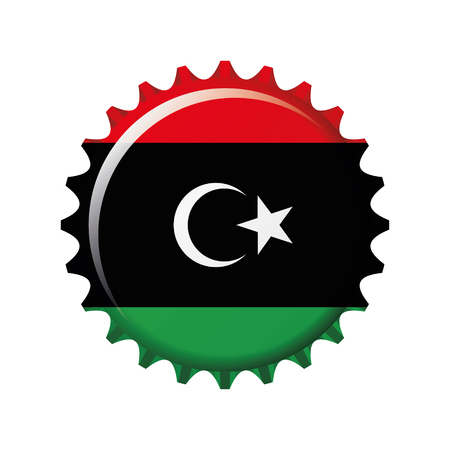 National flag of Libya on a bottle cap. Vector Illustration