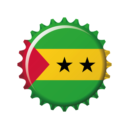 National flag of Sao Tome and Principe on a bottle cap. Vector Illustration