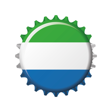 National flag of Sierra Leone on a bottle cap. Vector Illustration Ilustrace