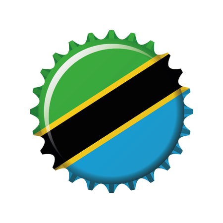 National flag of Tanzania on a bottle cap. Vector Illustration  イラスト・ベクター素材