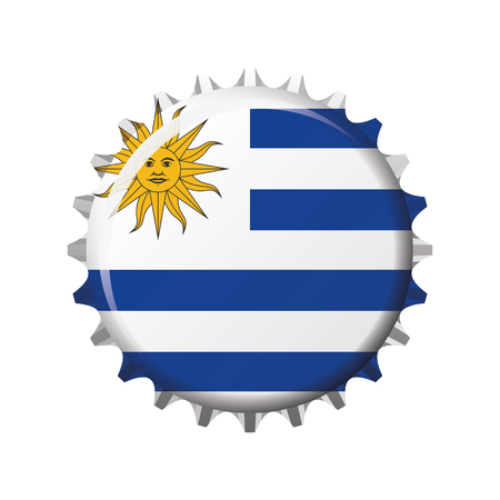 National flag of Uruguay on a bottle cap. Vector Illustration