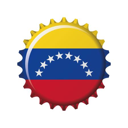 National flag of Venezuela on a bottle cap. Vector Illustration