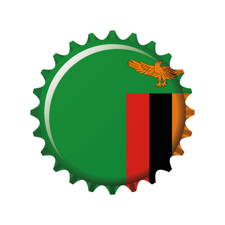 National flag of Zambia on a bottle cap. Vector Illustration
