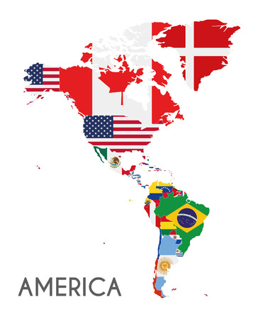 Political America Map vector illustration with the flags of all countries. Editable and clearly labeled layers.