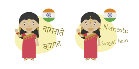 Vector illustration of cartoon characters saying hello and welcome in Hindi and its transliteration into latin alphabet Ilustração