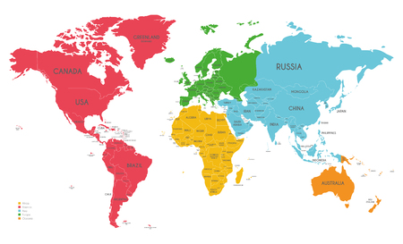 Political World Map vector illustration with different colors for each continent and isolated on white background. Editable and clearly labeled layers.