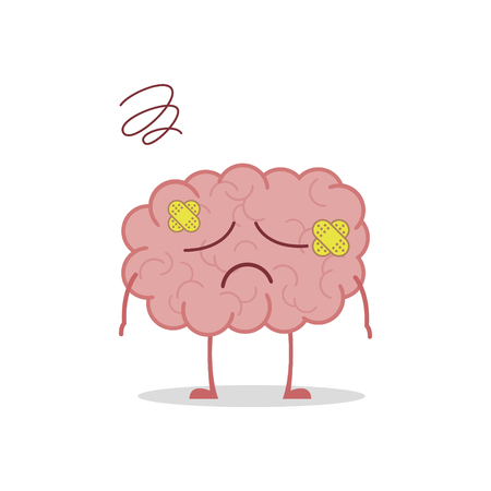 Vector illustration of a sick and sad brain in cartoon style.