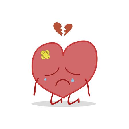 Vector illustration of a sick and sad heart in cartoon style. Иллюстрация