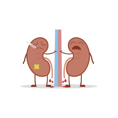 Vector illustration of a sick and sad kidneys in cartoon style due to cystitis or other related diseases. 矢量图像