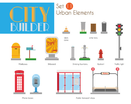 City Builder Set 11: Urban elements 版權商用圖片 - 104193809