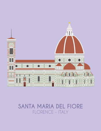 Modern design poster with colorful background of Santa Maria del Fiore (Florence, Italy). Vector illustration 矢量图像