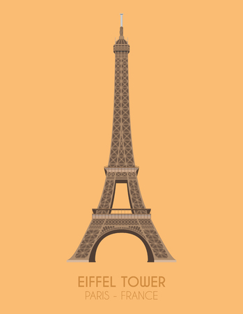 Modern design poster with colorful background of Eiffel Tower (Paris, France). Vector illustration Illustration