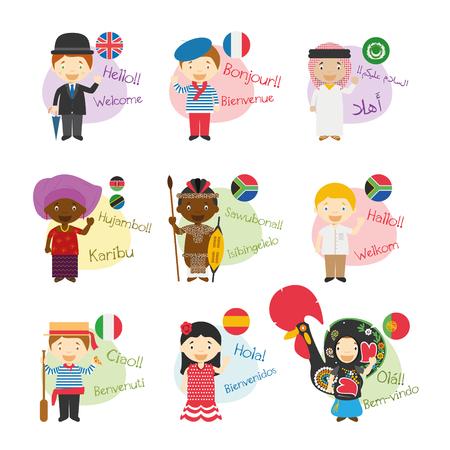 アフリカで話されている9ヶ国語で挨拶し、歓迎する漫画のキャラクターのベクトルイラストセット