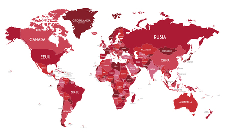 Political World Map vector illustration with different tones of red for each country and country names in spanish. Editable and clearly labeled layers.