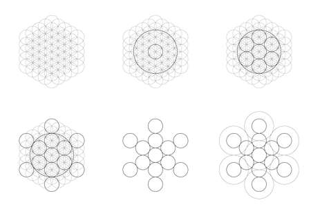Set of geometrical elements and shapes. Sacred Geometry Flower of Life and Metatrons Cube transition. Vector designs