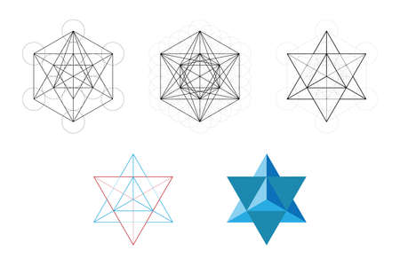 Set of geometrical elements and shapes. Sacred Geometry Davids Star development from Metatrons Cube. Vector designs