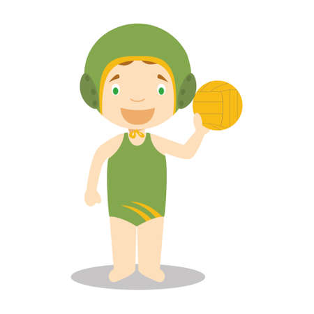 Sports cartoon vector illustrations: Waterpolo (female)
